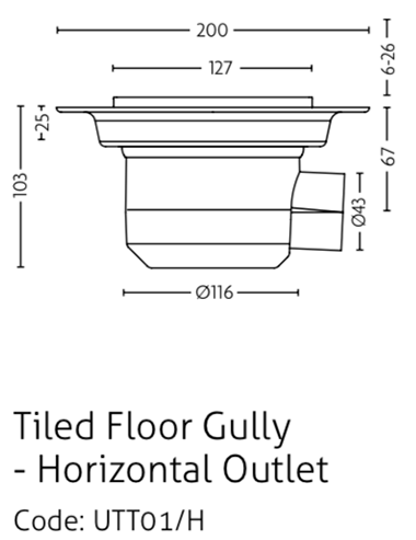 Impey Gravity waste for tiled floors - horizontal outlet