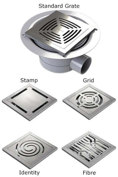 Impey Aqua Dec Floor former Stainless Grate options. 5 Choices available