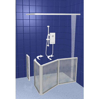 Contour Corner Access with Fixed Panel Half Height Shower Doors