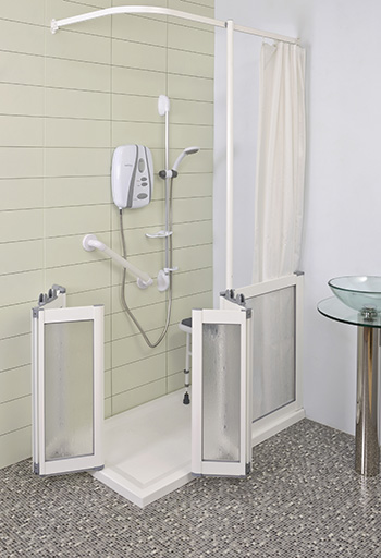 Contour Front Access Wf15 White Half Height Shower Doors