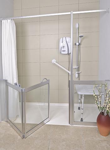Half height bi-fold shower doors and fixed screen finished in silver with clear glass