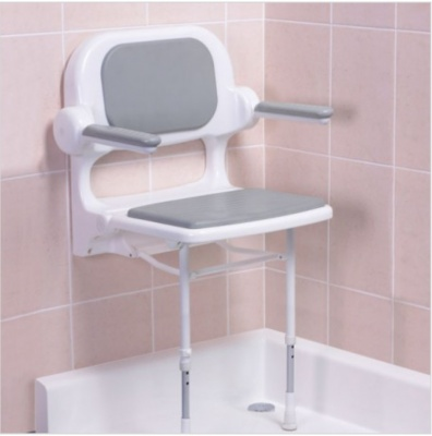 Fold Up Padded Shower Seat with Back and Arms - Grey - 2000 Series - 02130P