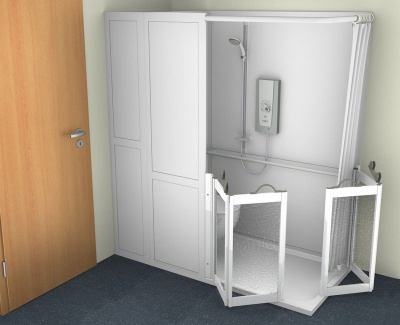 Contour Half Cubicle Shower Enclosure Option 6 - WC and Corner Twin Bi-Folding doors