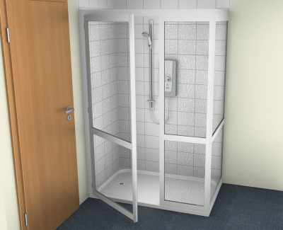 Contour Half Cubicle Shower Enclosure Option 7 - Full Height Fixed Panel & Full Height  Single Door