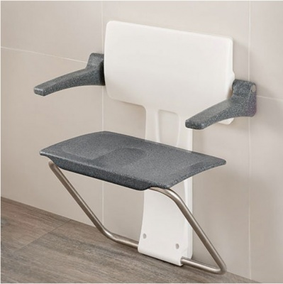 Impey Slimfold Shower Seat - Black Granite