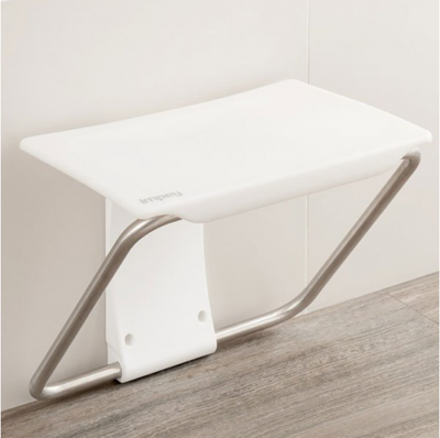 Impey Slimfold Shower Bench - White Stone