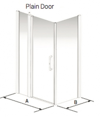 Larenco Corner Full Height Shower Enclosure Plain Door, Inline Panel & Side Panel