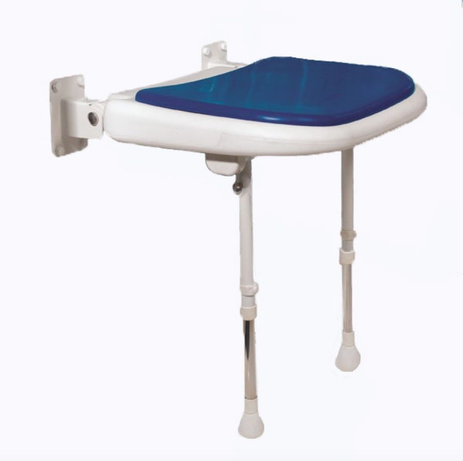 Wall Mounted Fold Up Blue Padded Shower Seat with Support Legs 04070P