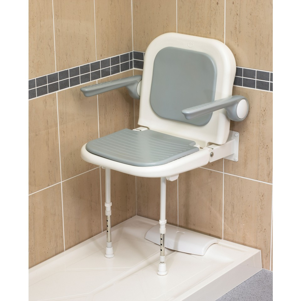 Wall Mounted Fold Up Grey Padded Shower Seat with Back and Arms 04230P