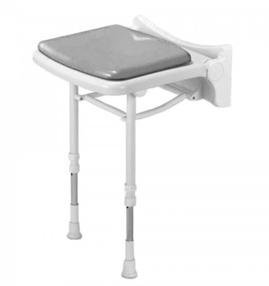 Fold Up Grey Padded Shower Seat 02010P