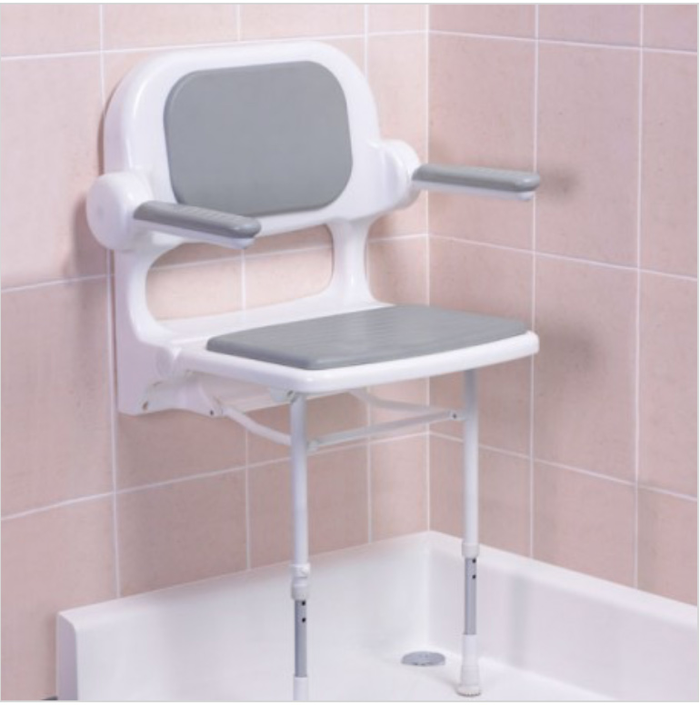 Fold Up Grey Padded Shower Seat With Back And Arms 02130p