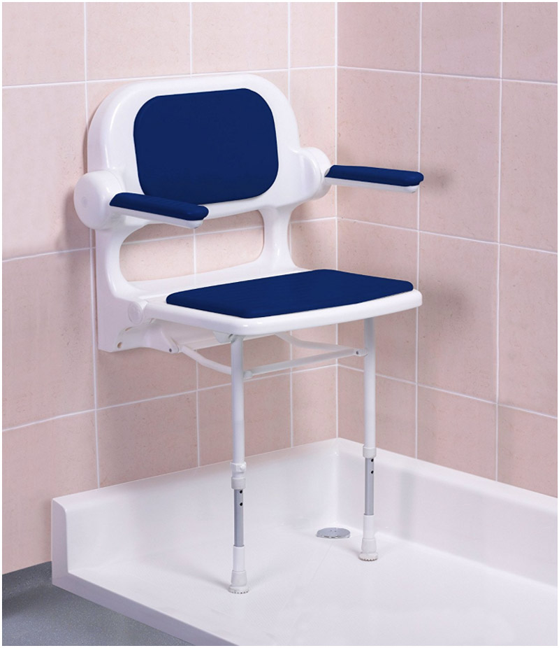 Fold Up Blue Padded Shower Seat With Back And Arms 02230p