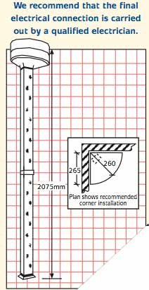 Apres Body Dryer dimensions. Technical size information.