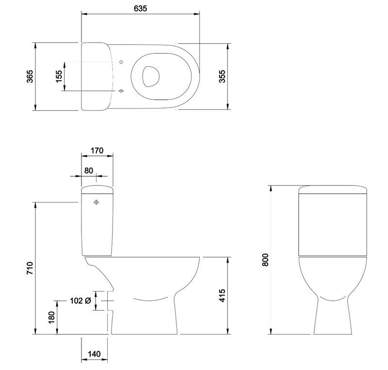 N&C Broadgate Close Coupled Toilet Pan and Cistern S7005858 & S7005859 & S7005860