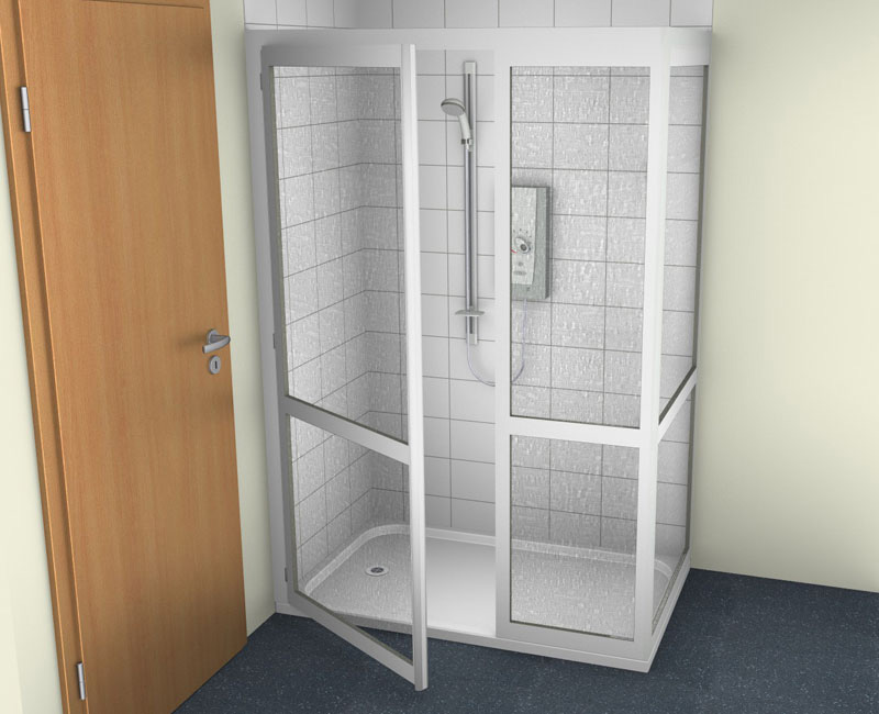 contour half cubicle shower enclosure option 7 full height fixed