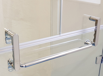 The beautiful Opulence range comes in a variety of options. The full height doors come with the illustrated handed and towel rail