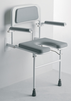 Padded Horseshoe Shower Seat With Back And Arm Rests