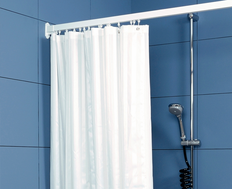 shower curtains weighted satin striped white. Black Bedroom Furniture Sets. Home Design Ideas