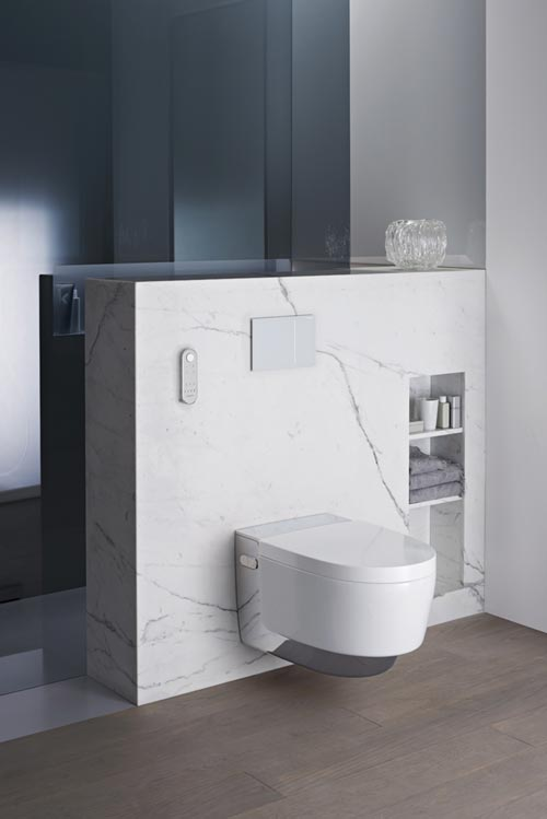 The Geberit Aquaclean Mera Shower Toilet is available in white and chrome. Chrome version shown