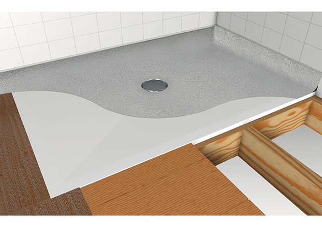 Impey sample image showing vinyl flooring and waste with chrome cover plate