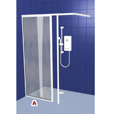 contour fixed panel and pole wfx white half height shower