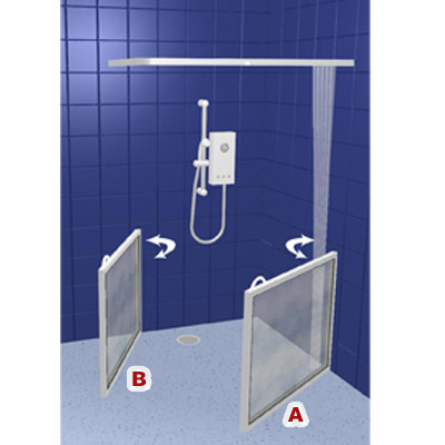 contour corner access wf2 white half height shower doors