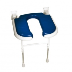 Wall Mounted Fold Up Horseshoe Padded Shower Seat with Support Legs - Blue