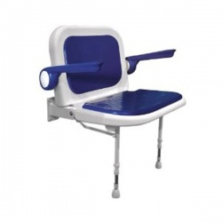 AKW Bariatric Extra Wide Shower Seat with Back and Arms - Blue