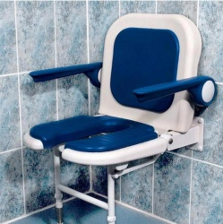 Wall Mounted Fold Up Horseshoe Padded Shower Seat with Back and Arms - Blue