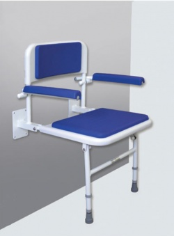 Padded Shower Seat with Back and Arm Rests - Blue