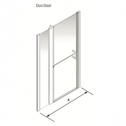 Larenco Alcove Full Height Shower Enclosure Duo Door with 1 inline fixed panel