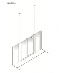 Larenco Alcove Half Height Shower Enclosure Bi-fold Door with 2 Inline Fixed Panels