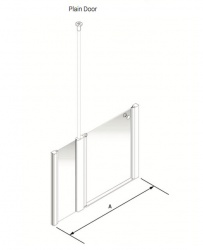 Larenco Alcove Half Height Shower Enclosure Plain Door with 1 Inline Fixed Panel