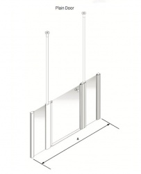 Larenco Alcove Half Height Shower Enclosure Plain Door with 2 Inline Fixed Panels
