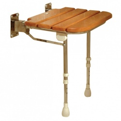 Fold Up Wooden Slatted Shower Seat