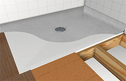 Wet room floor former with vinyl sheet non slip safety flooring