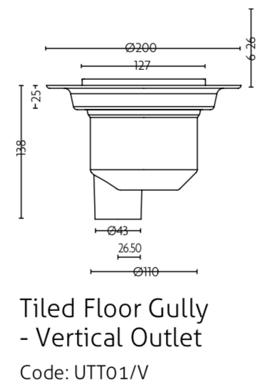 Impey waste for Tiled floors with vertical outlet