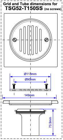 TSG52-T150SS technical drawing dimensions of the top. Plan drawing