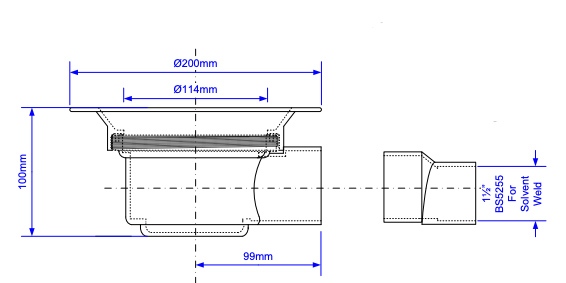 McAlpine TSG52-T150SS side elevation technical drawings