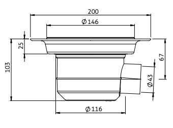 Dimensions for Impey Level-Dec waste with horizontal gravity outlet (UTVG01/H & UTVC01/H)