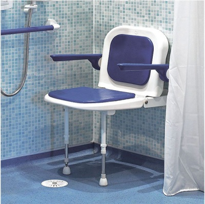 Wall Mounted Fold Up Padded Shower Seat with Back and Arms - Blue - 4000 Series - 04130P