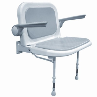 AKW Bariatric Extra Wide Shower Seat with Back and Arms - Grey