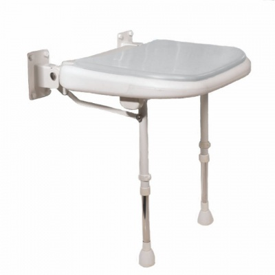 Wall Mounted Fold Up Padded Shower Seat with Support Legs - Grey - 4000 Series - 04270P