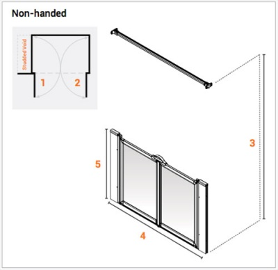 AKW Half Height Wet Floor Screens - White - Option MW