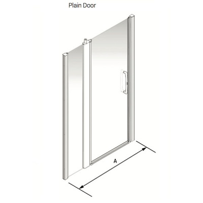 Larenco Alcove Full Height Shower Enclosure Plain Door with 1 Inline Fixed Panel