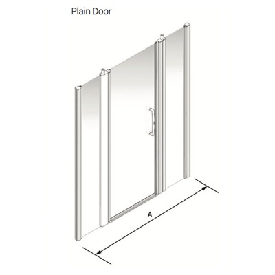 Larenco Alcove Full Height Shower Enclosure Plain Door with 2 Inline Fixed Panels