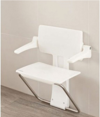 Impey Slimfold Shower Seat - White Stone