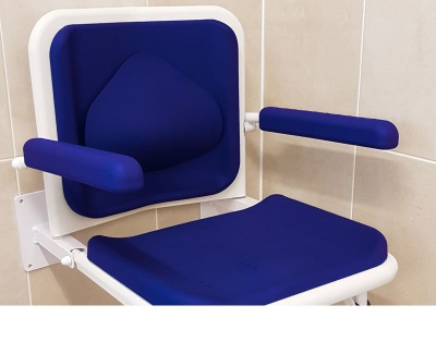 Padded Shower Seat with Full Length Back Rest & Optional Lumbar Support - Blue