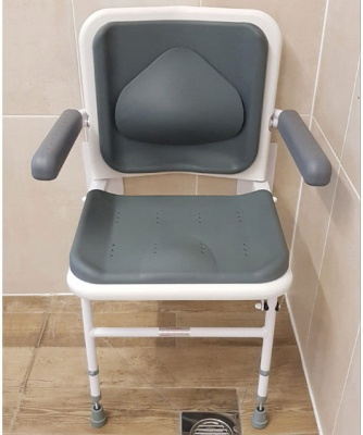Padded Shower Seat with Lumbar Support Back and Arm Rests - Grey