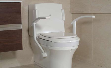 Closomat support arms transfer the weight through the structure of the toilet